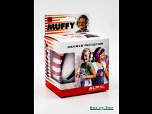 Alpine Gehörschutz Muffy Kids Kopfhörer/Earmuff, weiß mit rot-weiß gestreiftem Bügel, inkl. Tragebeutel