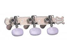 Dixon SKG376 Mechanik für Konzertgitarre, chrome, mit Plastikwelle, ovale Perlmut Flügel, Lyra