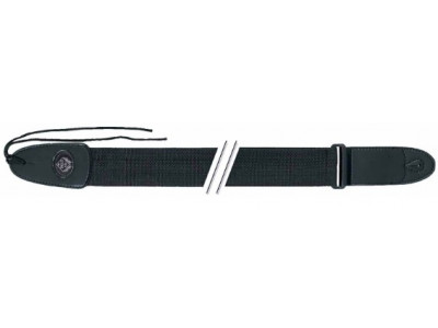 Fire & Stone Nylongurt, Gitarrengurt, schwarz, 5cm breit, 81 bis 135 cm lang, Kunstlederenden