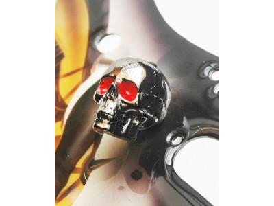 Qparts Potiknopf Jumbo Skull 2 Bloodshot, black-chrome, face up