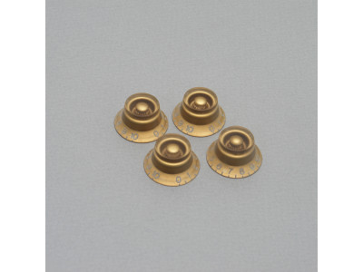 Qparts AG3166140 KLSGDUS Aged Collections LP Knobs (Potiknopf), 4x Bell type für inch Potis mit 24 Zähnen, gold