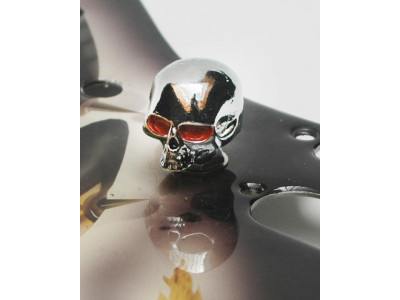 Qparts Potiknopf Skull 1 Bloodshot, chrome, face straight