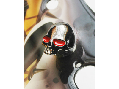 Qparts Potiknopf Skull 2 Bloodshot, black-chrome, face up