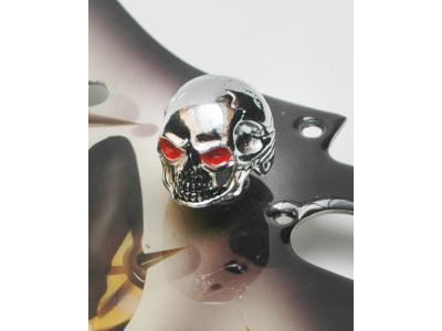 Qparts Potiknopf Jumbo Skull 1 Bloodshot, chrome, face straight